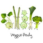 Serviette Veggie Party  33x33cm  | Sortiment Servietten