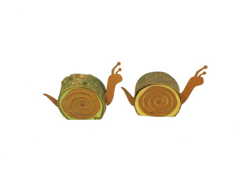 Holz schnecke rost 12cm gelb gr n 1975 74 for Dekoartikel rost