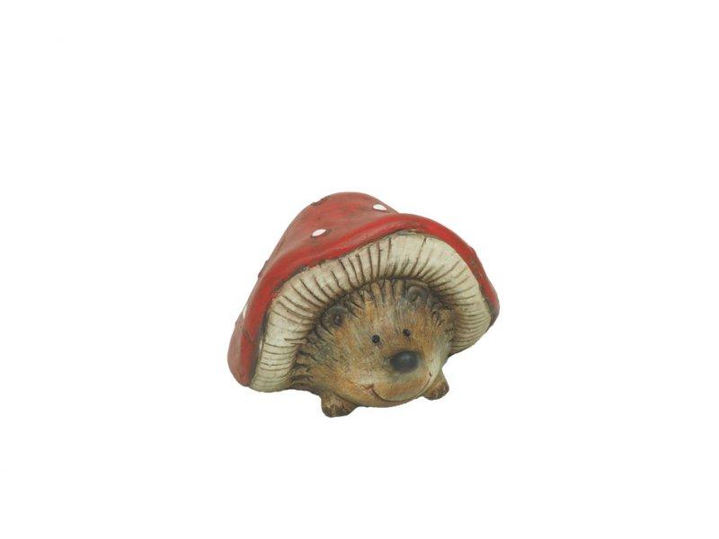 keramik-igel unter pilz 10,5x7cm rot/weiß · 2186-90