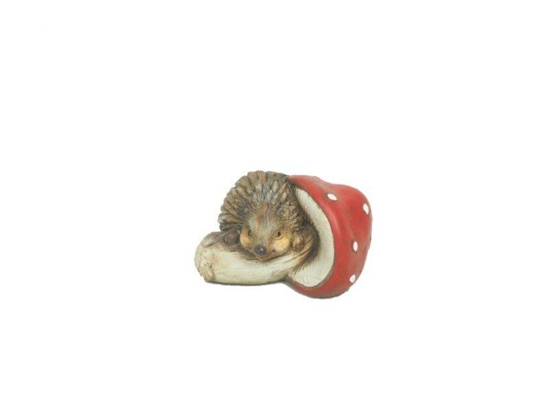 keramik-igel mit pilz 9x5cm rot/weiß/ · 2186-92