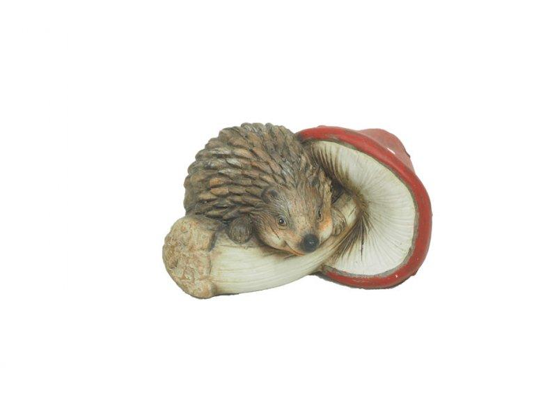 keramik-igel mit pilz 13x7cm rot/weiß/ · 2186-93